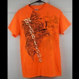 Righteous Orange Skull and Floral Graphic Gildan